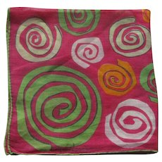 Vintage Hot Pink Mary Lewis Hankie Mod Abstract Geometric Swirls