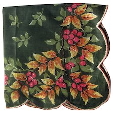 Burmel Olive Green Hankie with Leaf and Berry Design
