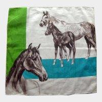 Horse Lovers Vintage Handkerchief - Collectible Hankie - Designer Hankie
