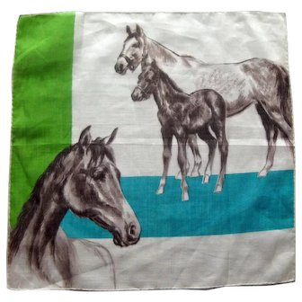 Horse Lovers Vintage Handkerchief - Collectible Hankie - Designer Hankie