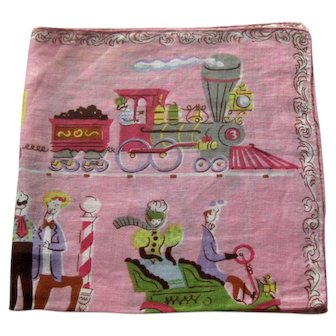Designer Hankie Showing Turn of the Century Images - Collectible Hankie - Burmel Handkerchief