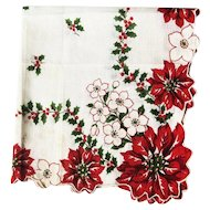 Christmas Hankie with Poinsettias Berries and Snowflakes - Vintage Handkerchief - Collectible Hankie - Holiday Decor
