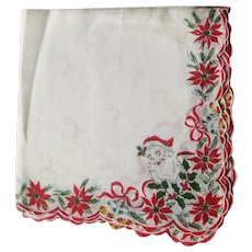 Vintage Christmas Hankie with Santas Poinsettias, Bells and Reindeer - Collectible Hankie - Holiday Decor