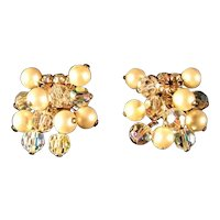 Kramer Rhinestone Crystal and Simulated Pearl Earrings