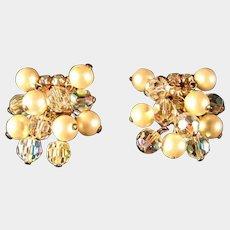 Kramer Rhinestone Crystal and Simulated Pearl Earrings