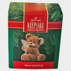 Hallmark Bear Ornament - Beary Good Deal - Bear with Santa Playing Cards - Collectible Ornament - Kids Ornament