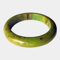 Bakelite Bangle Bracelet Cream Spinach Marbled
