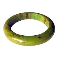Bakelite Bangle Bracelet Cream Spinach Marbled