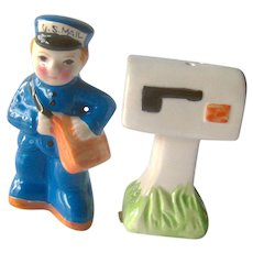 Mailman Salt Pepper Shakers - Mailbox Shaker - Mailman Gift - Ceramic Shakers - Novelty Shakers