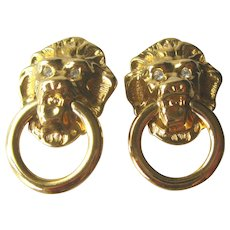 KJL Door Knocker Lions Head Earrings - KJL for Avon - Kenneth J Lane - Vintage Earrings - Collectible Jewelry