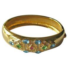 KJL Hinged Bangle Bracelet - Kenneth J Lane Jewelry - Designer Bracelet - Collectible Jewelry