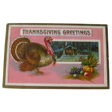 Thanksgiving Greetings Postcard - Unique Pink Thanksgiving Greeting - Collectible Postcard - Vintage Postcard
