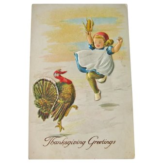 Winsch Thanksgiving Greetings Postcard - Little Girl and Turkey Dancing - Collectible Postcard