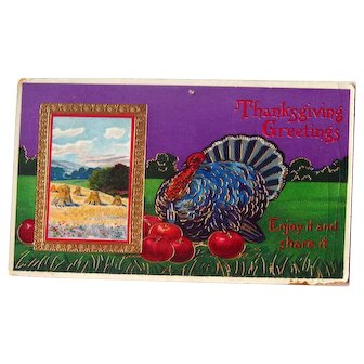 Thanksgiving Greetings Gel Postcard - Haystack Scene - Postcard with Turkey - Collectible Postcard