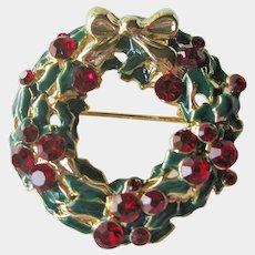 Christmas Wreath Pin - Holiday Brooch