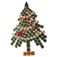 Stunning Eisenberg Ice Christmas Tree Pin - Garland Christmas Tree - Collectible Tree - Designer Jewellery - Holiday Jewelry