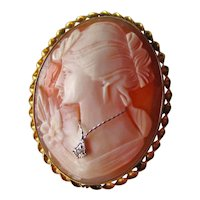 Shell Cameo Brooch Pendant - Vintage Carnelian Shell Cameo - Gold Filled -  Habille Cameo