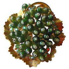 BSK Designer Pin with Green Glass Beads and Rhinestones