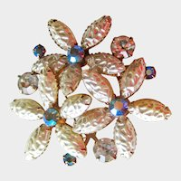 Simulated Baroque Pearl and Aurora Borealis Rhinestone Pin - Vintage Brooch