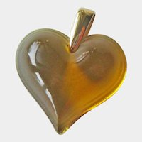 Lalique Heart/Coeuer Pendant - Signed Lalique - Amber Colored Heart - Designer Jewelry