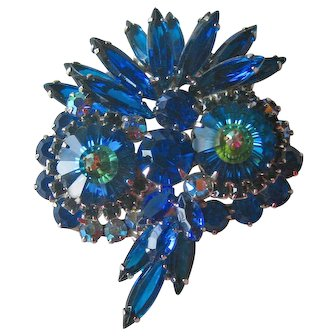 Juliana Royal Blue Owl Pin -Delizza & Elster Jewelry - Juliana Rivoli Stone Pin - Designer Jewelry