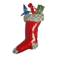 Hedy Christmas Stocking Pin - Enamel Brooch - Collectible Jewelry - Designer Brooch - Holiday Decor