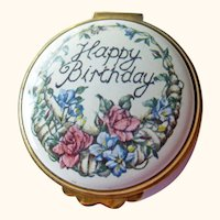 Royal Worcestershire Enamel Box - Kingsley Enamels - Happy Birthday Box - Collectible Box - Vintage Box