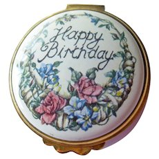 Royal Worcestershire Enamel Box - Kingsley Enamels - Happy Birthday Box - Collectible Box - Vintage Box