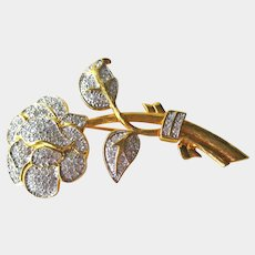 Nolan Miller Elegant Rose Pin / Signed Brooch / Designer Pin / Vintage Jewelry / Collectible Jewelry / Fashion Jewelry