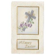 Easter Postcard with Cross / Heavily Embossed Easter Postcard / Double Layer Postcard / Vintage Postcard / Ephemera