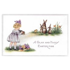 Easter Postcard Girl with Camera / Rabbits and Chick Being Photographed / Embossed Easter Postcard / Ephemera / Vintage Postcard