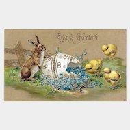 Easter Postcard / Bunnies Chicks and Egg Postcard / Embossed Postcard with Gilt / Collectible Postcard / Ephemera