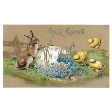 Easter Postcard / Bunnies Chicks and Egg Postcard / Embossed Postcard with Gilt / Collectible Postcard / Ephemera