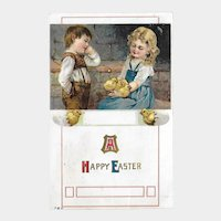 Easter Postcard with Boy and Girl / Chicks and Eggs / Vintage Postcard / Ephemera