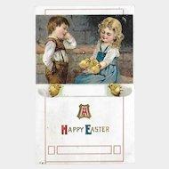 Easter Postcard with Boy and Girl / Chicks and Eggs / Vintage Postcard / Ephemera