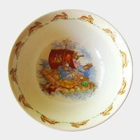 Bunnykins Royal Doulton Bowl - Child's Cereal Soup Bowl - Bunnykins Sailing on Raft Design - Collectible Royal Doulton