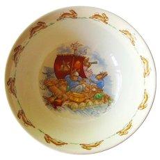 Bunnykins Royal Doulton Bowl - Child's Cereal Soup Bowl - Bunnykins Sailing on Raft Design - Collectible Royal Doulton