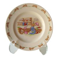 Bunnykins Royal Doulton Plate - Child's Plate - Bunnykins Visiting Mr. Piggly's Stores - Collectible Royal Doulton