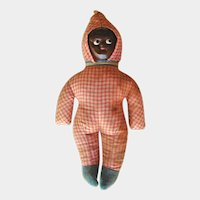 Vintage Folk Art Black Americana Doll - Straw Stuffed Doll - Celluloid Face - Collectible Doll