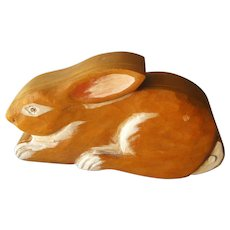 Hand Carved Rabbit Trinket Box: Wooden Bunny Jewelry Box:  Hand Painted Box : Collectible Box