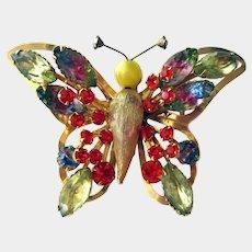 Rhinestone Butterfly Pin -Selini Butterfly Brooch - Vintage Jewelry -Designer Jewelry