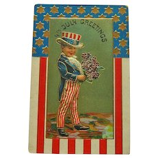 Boy Dressed as Uncle Sam / Fourth of July Postcard / Patriotic Postcard / 4th of July Postcard