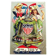 Liberty Bell Fourth of July Postcard - Children 4th of July - Vintage Postcard - Collectible 4th of July