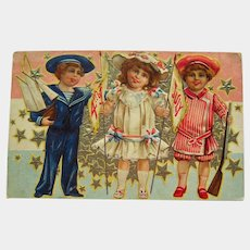 Fourth of July Postcard Featuring Three Adorable Children - Collectible Postcard