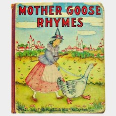 Mother Goose Rhymes Board Book - 1939 Platt & Munk Book - Children's Book