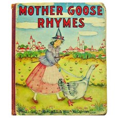 Mother Goose Rhymes Board Book - 1939 Platt & Munk Book - Children's Book
