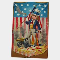 Boy Dressed as Uncle Sam / Raphael Tuck Postcard / Fourth of July Postcard / Patriotic Postcard / 4th of July Postcard