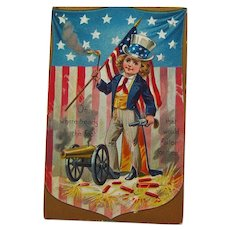 Boy Dressed as Uncle Sam / Raphael Tuck Postcard / Fourth of July Postcard / Patriotic Postcard / 4th of July Postcard
