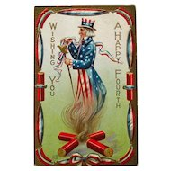 Uncle Sam Postcard - Fourth of July Postcard - E Nash - Independence Day