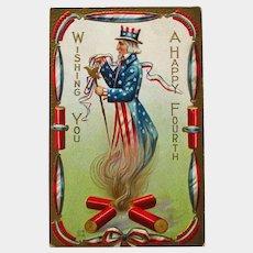 Uncle Sam Postcard - Fourth of July Postcard - E Nash - Independence Day